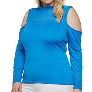 NEW Women's Plus Size Studded Royal Blouse Sz 1X